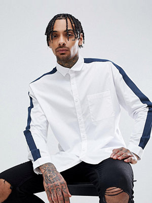 ASOS DESIGN Regular Fit Cut And Sew Shirt With Tape Detail - White