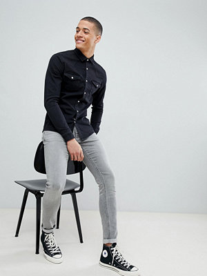 ASOS DESIGN skinny denim western shirt