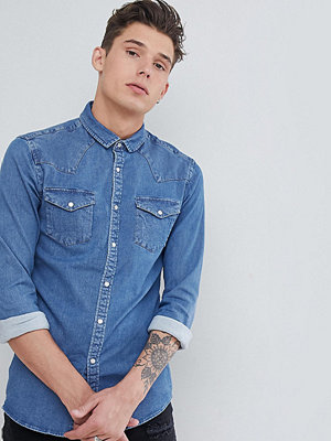 ASOS DESIGN Tall Skinny Western Denim Shirt In Mid Wash - Mid wash