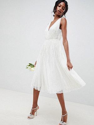 ASOS Edition waterfall sequin midi wedding dress