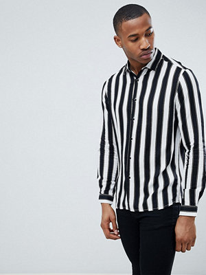 ASOS DESIGN Regular Fit Viscose Monochrome Stripe Shirt