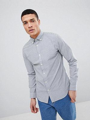 Selected Homme Slim Fit Stripe Seersucker Shirt - Blue aster