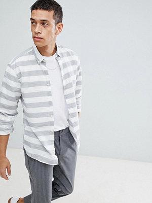 Selected Homme Slim Fit Shirt With Horizontal Stripe - White v horizontal