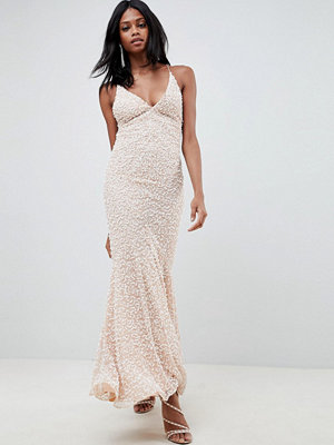 ASOS Edition all over embellished strappy back maxi dress - Blush