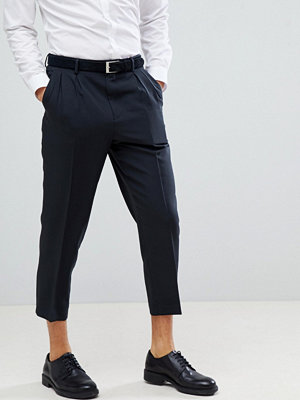 ASOS DESIGN Tapered Smart Trouser In Black With Double Pleat