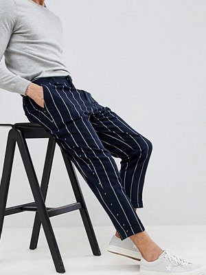 ASOS DESIGN Tapered Smart Trousers In Navy Stripe