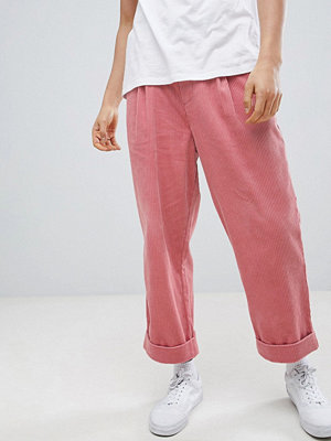 ASOS DESIGN Wide Balloon Trousers In Pink Cord With Pleats