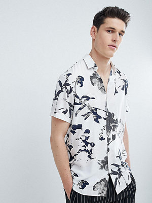 Selected Homme TALL Short Sleeve Viscose Shirt With All Over Print - Hushed violet
