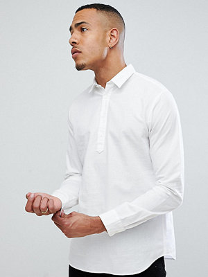 Selected Homme TALL Half Placket Regualr Fit Linen Shirt - Bright white