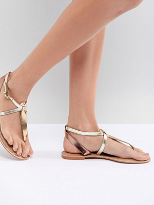 ASOS DESIGN Forbes Leather Flat Sandals - Mixed metalic