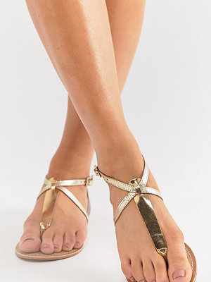 ASOS DESIGN Wide Fit Forbes leather flat sandals - Mixed metalic
