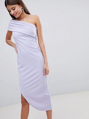 City Goddess One Shoulder Aysmetric Midi Dress