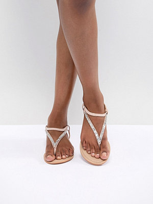 ASOS DESIGN Fixing Leather Embellished Flat Sandals - Nude/silver