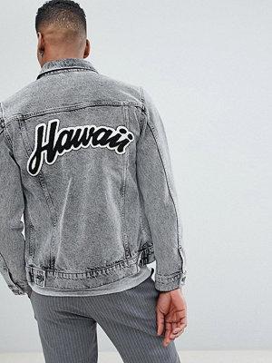 Jeansjackor - Selected Homme Selected Homme+ Denim Jacket With Back Hawaii Flocking