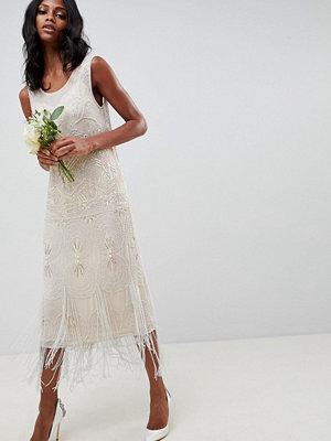 ASOS Edition fringe embellished midi wedding dress with a low back - Oyster