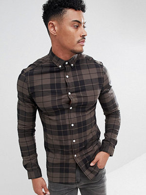 ASOS DESIGN skinny check shirt in khaki - Khaki