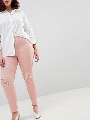 Zizzi Jeans i smal passform med råskurna benslut Mellow rose