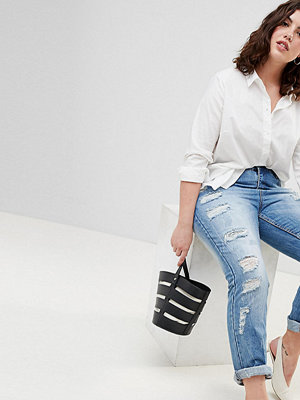 Zizzi Rivna jeans med smala ben Ljusblå demin