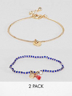 ASOS armband DESIGN Pack Of 2 Coin And Tassel Charm Bracelets