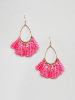 ASOS örhängen DESIGN Teardrop Hoop Tassel Earrings