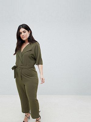 ASOS Curve ASOS DESIGN Curve Wrap Jumpsuit With Self Belt - Olive