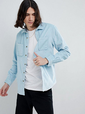 ASOS DESIGN overshirt in cord in pale blue