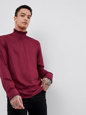 ASOS DESIGN Regular Fit Overhead Shirt With Ruffle Neck - Burgundy