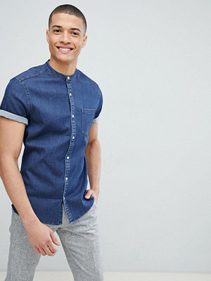 ASOS DESIGN Stretch Slim Denim Shirt With Grandad Collar In Rinse Wash - Rinse wash