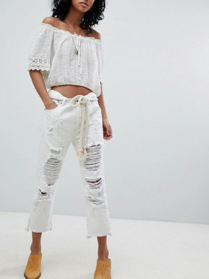 One Teaspoon Festival Hooligans Låga jeans med avslappnad passform och slitna detaljer Cococash white