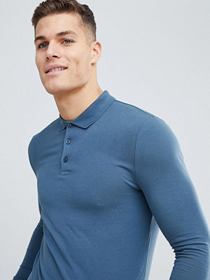 ASOS DESIGN Muscle Fit Long Sleeve Jersey Polo In Blue - Hush grey