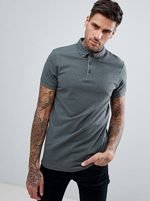 ASOS DESIGN Polo With Button Down Collar In Pique - Lochness marl