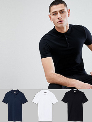 ASOS DESIGN Muscle Fit Polo In Jersey 3 Pack SAVE - Wht/blk/navy