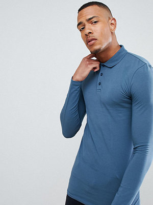 ASOS TALL Muscle Fit Long Sleeve Polo In Jersey In Blue - Hush grey