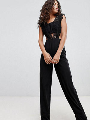 Asos Tall ASOS DESIGN Tall Lace Top Jumpsuit With Wide Leg