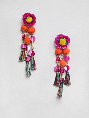 ASOS örhängen DESIGN Sequin And Pom Flower Tassel Drop Earrings