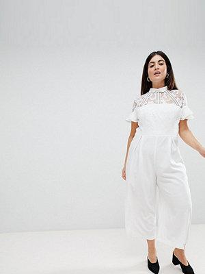 ASOS Curve ASOS DESIGN Curve Lace Top Jumpsuit With Culotte Leg