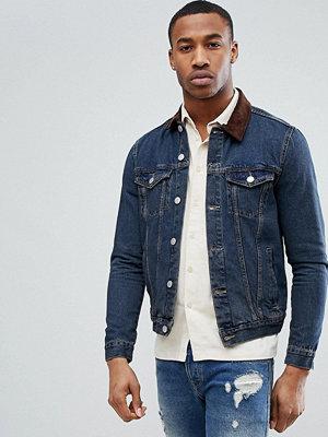 Jeansjackor - New Look Denim Jacket With Corduroy Collar In Mid Wash