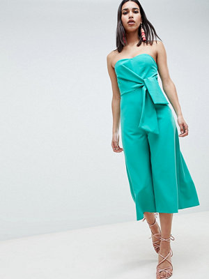 ASOS DESIGN Bandeau Jumpsuit With Tie Detail And Culotte Leg - Bright teal