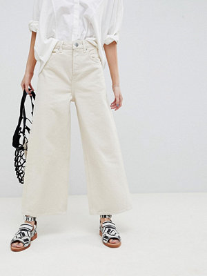 ASOS DESIGN Premium Wide Leg Jeans In Bone White - Bone
