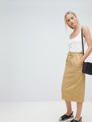 ASOS DESIGN denim paperbag midi skirt in stone - Stone