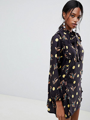 Liquorish Bird And Spot Print Shift Dress
