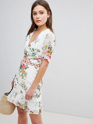 Parisian Floral Dress With Lattice Inserts
