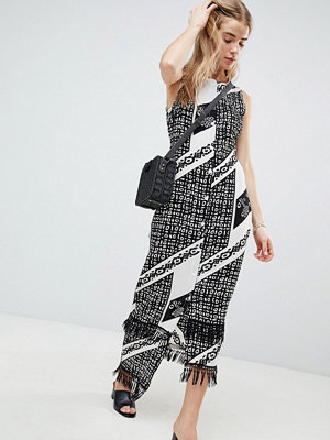 Parisian Printed Midi Dress With Fringe Detail - Black / white
