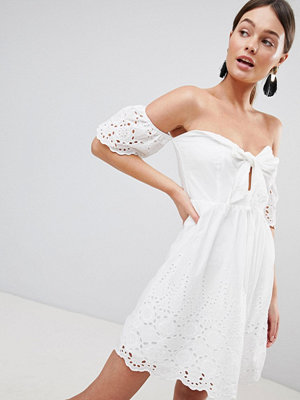 Parisian Off Shoulder Broderie Dress With Bow