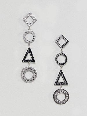ASOS örhängen DESIGN Hammered Geo Shape Strand Earrings