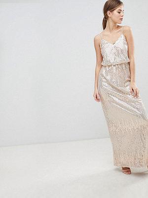 Little Mistress Scatter Sequin Maxi Dress - Light pink