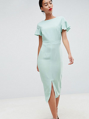 Asos Tall ASOS DESIGN Tall midi wiggle dress with fluted sleeve - Sage