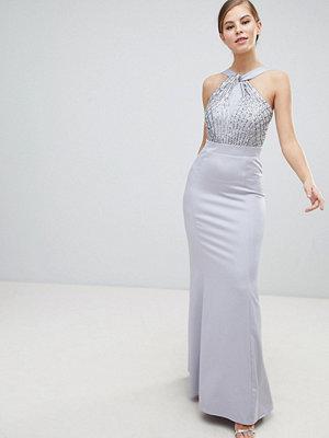 Little Mistress Halterneck Maxi Dress With Sequin Detail