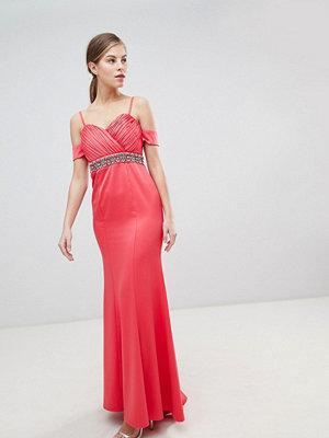 Little Mistress Off Shoulder Maxi Dress With Embellished Waist - Coral