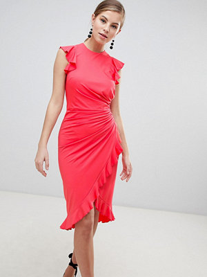 Little Mistress Wrap Midi Dress With Ruffle Detail - Coral